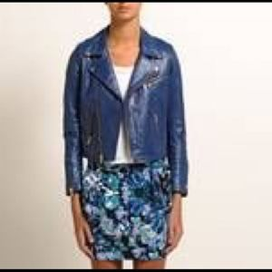 Maje Exitor blue leather jacket